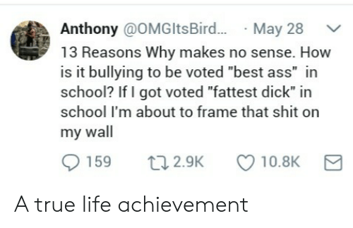 "Ass, Life, and School: Anthony @OMGltsBird...May 28  13 Reasons Why makes no sense. How  is it bullying to be voted ""best ass"" in  school? If I got voted ""fattest dick"" in  school I'm about to frame that shit on  my wall  0159 t 2.9K 10.8K A true life achievement"