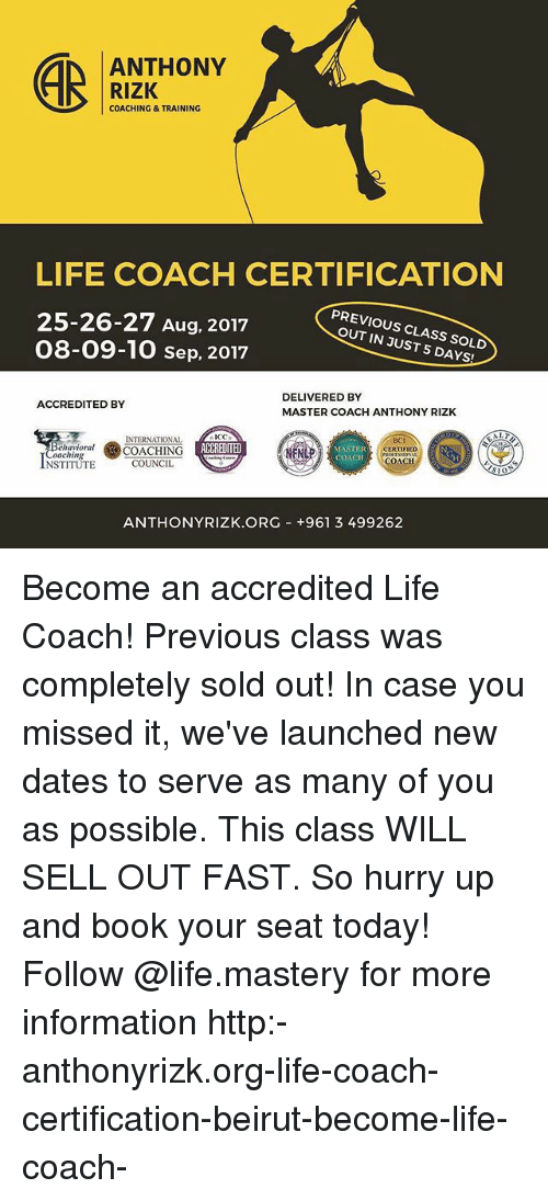 Anthony Rizk Coachingtraining Life Coach Certification 25 26 27 Aug