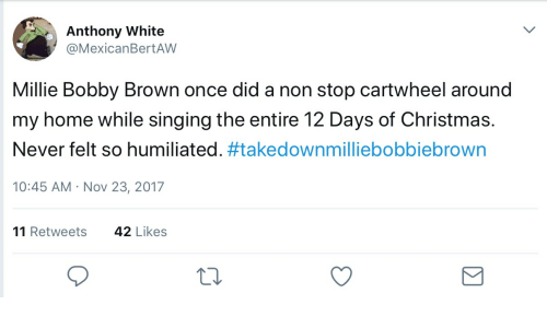christmas singing and home anthony white mexicanbertaw millie bobby brown once did