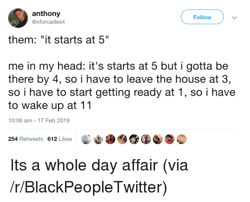 "Blackpeopletwitter, Head, and House: anthony  @xforcades4  Follow  them: ""it starts at 5""  me in my head: it's starts at 5 but i gotta be  there by 4, so i have to leave the house at 3,  so i have to start getting ready at 1, so i have  to wake up at 11  10:06 am-17 Feb 2019  254 Retweets 612 Likes Its a whole day affair (via /r/BlackPeopleTwitter)"