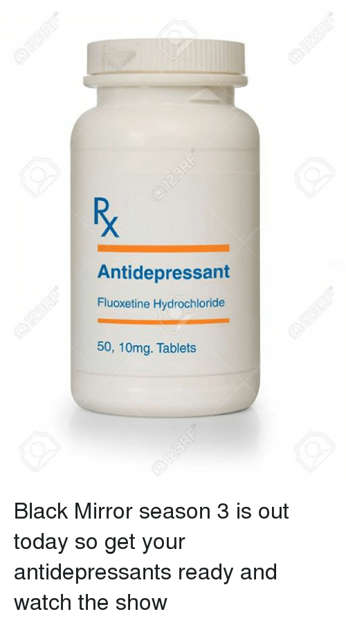 Tablet, Black, and Blacked: Antidepressant Fluoxetine Hydrochloride 50, 10mg.  Tablets Black