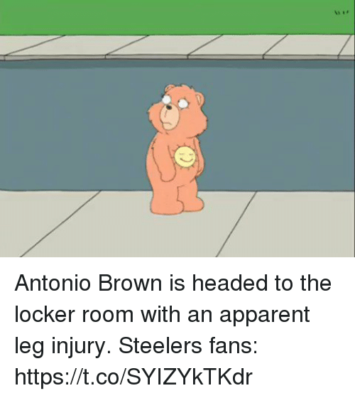 Football, Nfl, and Sports: Antonio Brown is headed to the locker room with an apparent leg injury.   Steelers fans: https://t.co/SYIZYkTKdr