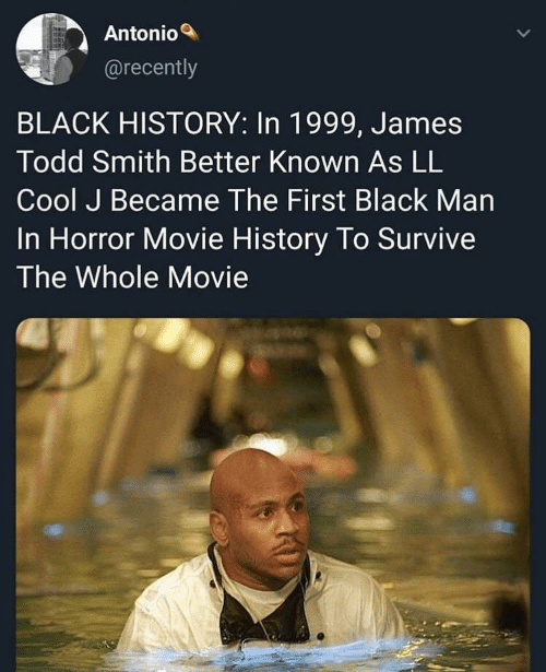 Black, Cool, and History: Antonio  @recently  BLACK HISTORY: In 1999, James  Todd Smith Better Known As LL  Cool J Became The First Black Man  In Horror Movie History To Survive  The Whole Movie
