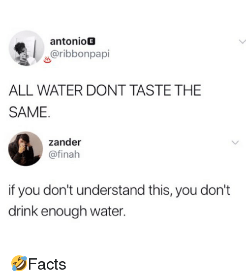 Memes, Water, and 🤖: antonioE  w@ribbonpapi  ALL WATER DONT TASTE THE  SAME  zander  @finah  if you don't understand this, you don't  drink enough water. 🤣Facts