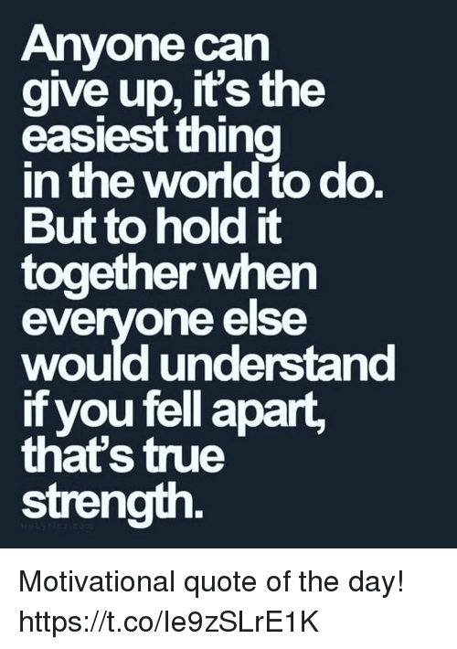 Memes, True, and 🤖: Anvone can  aive up, its the  easiest thina  n the wond to do  But to hold it  together when  evervone else  would understand  if you fell apart,  that's true  strength Motivational quote of the day! https://t.co/Ie9zSLrE1K