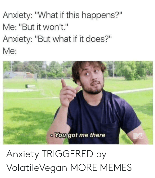 """Dank, Memes, and Target: Anxiety: """"What if this happens?""""  Me: """"But it won't.""""  Anxiety: """"But what if it does?""""  Me:  You got me there Anxiety TRIGGERED by VolatileVegan MORE MEMES"""