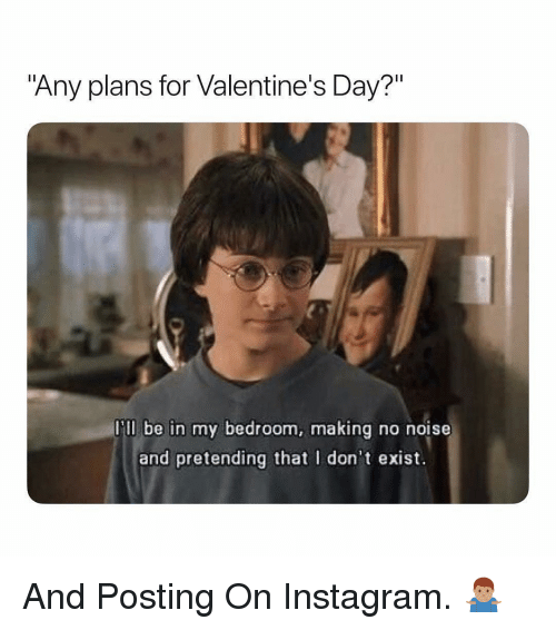 "Instagram, Valentine's Day, and Dank Memes: ""Any plans for Valentine's Day?""  ll be in my bedroom, making no nois  and pretending that I don't exist. And Posting On Instagram. 🤷🏽‍♂️"