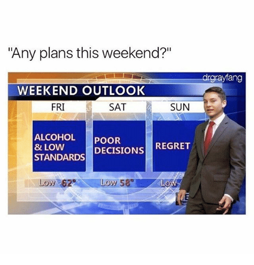 """Memes, Regret, and Alcohol: """"Any plans this weekend?""""  drgrayfang  WEEKEND OUTLOOK  FRI  SAT  SUN  ALCOHOL POOR  8 LOW  STANDARDS DECISIONS REGRET  Low 62  Loy 58"""