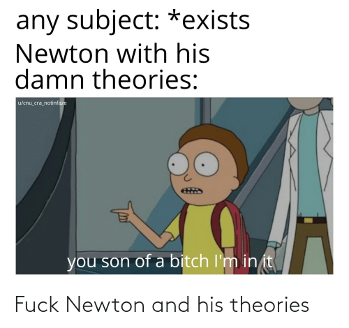Dank Memes, Newton, and You: any subject: *exists  Newton with his  damn theories:  u/cnu_cra_notinfaze  you son of a bitch I'm in it Fuck Newton and his theories