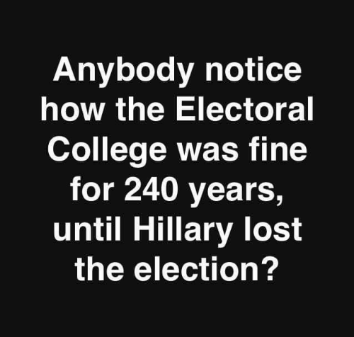 College, Memes, and Lost: Anybody notice  how the Electoral  College was fine  for 240 years,  until Hillary lost  the election?