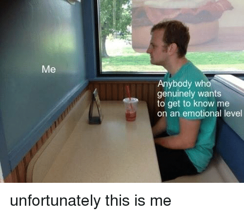 Memes, 🤖, and Who: Anybody who  genuinely wants  to get to know me  on an emotional level unfortunately this is me