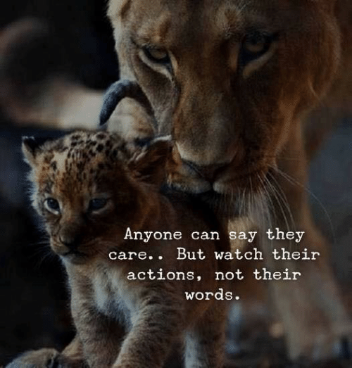 Watch, Can, and They: Anyone can say they  care.. But watch their  actions, not their  words.