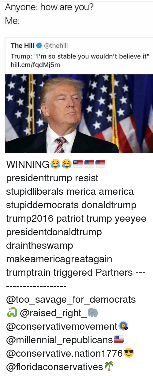 """America, Memes, and Savage: Anyone: how are you?  Me:  The Hill@thehill  Trump: """"I'm so stable you wouldn't believe it""""  hill.cm/fqdMj5m WINNING😂😂🇺🇸🇺🇸🇺🇸 presidenttrump resist stupidliberals merica america stupiddemocrats donaldtrump trump2016 patriot trump yeeyee presidentdonaldtrump draintheswamp makeamericagreatagain trumptrain triggered Partners --------------------- @too_savage_for_democrats🐍 @raised_right_🐘 @conservativemovement🎯 @millennial_republicans🇺🇸 @conservative.nation1776😎 @floridaconservatives🌴"""