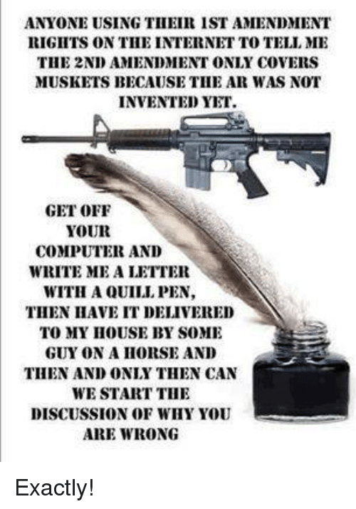 Internet, Memes, and Computer: ANYONE USING TII EIR IST AMENDMENT  RIGIITS ON TIHE INTERNET TO TELL ME  THE 2ND AMENDMENT ONLY COVERS  MUSKETS BECAUSE THE AR WAS NOT  INVENTED YET.  GET OFF  YOUR  COMPUTER AND  WRITE ME A LETTER  WITH A QUILI PEN,  THEN HAVE IT DELIVERED  TO MY IHOUSE BY SOME  GUY ON A HORSE AND  THEN AND ONLY THEN CAN  WE START THE  DISCUSSION OF WHY YOU  ARE WRONG Exactly!