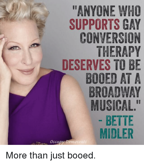 anyone who supports gay conversion therapy deserves to be booed 7304162 ✅ 25 best memes about bette midler bette midler memes