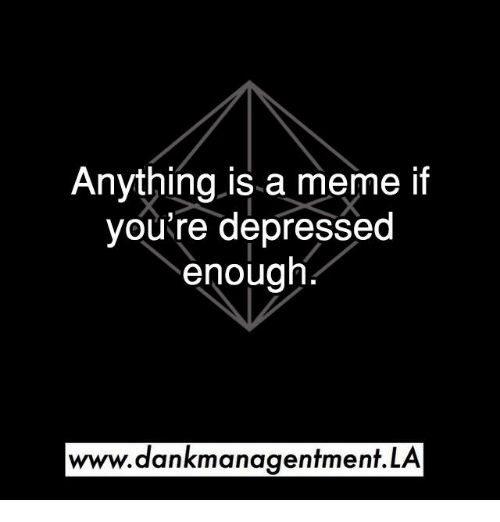 Meme, Memes, and 🤖: Anything is a meme if  you're depressed  enough  www.dankmanagentment.LA