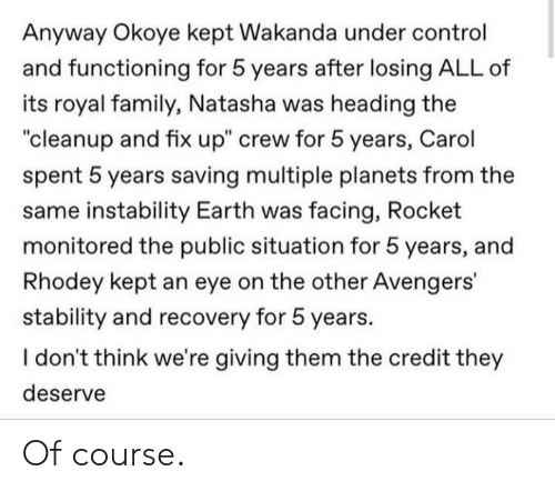 "Family, Royal Family, and Control: Anyway Okoye kept Wakanda under control  and functioning for 5 years after losing ALL of  its royal family,, Natasha was heading the  ""cleanup and fix up"" crew for 5 years, Carol  spent 5 years saving multiple planets from the  same instability Earth was facing, Rocket  monitored the public situation for 5 years, and  Rhodey kept an eye on the other Avengers'  stability and recovery for 5 years.  I don't think we're giving them the credit they  deserve Of course."