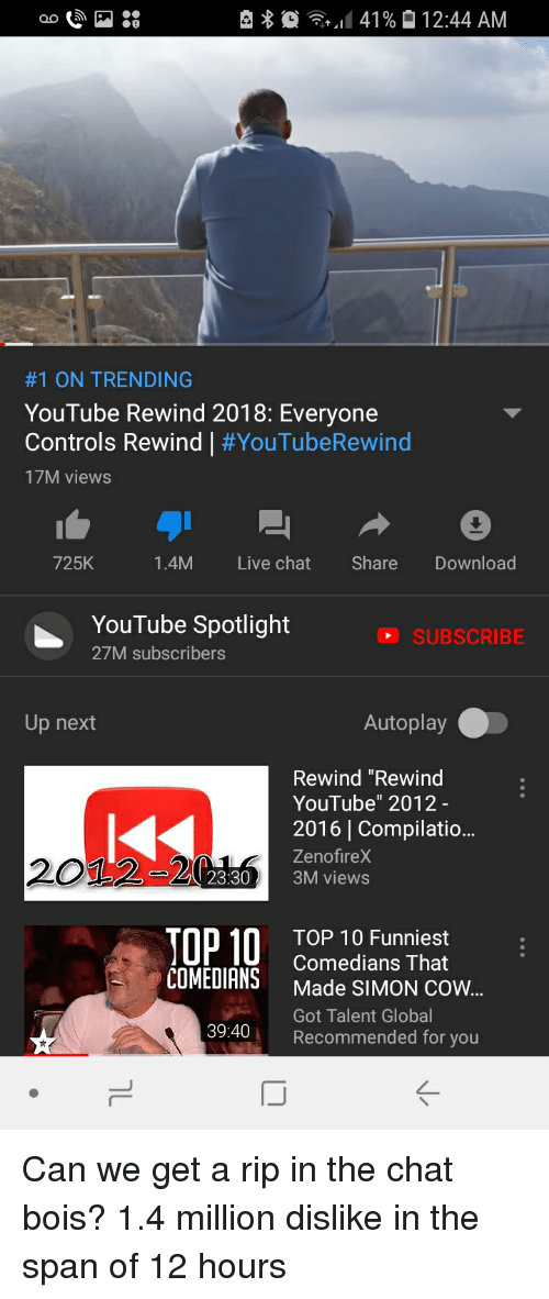 """youtube.com, Chat, and Live: ao P  141 %  12:44 AM  #1 ON TRENDING  YouTube Rewind 2018: Everyone  Controls Rewind 