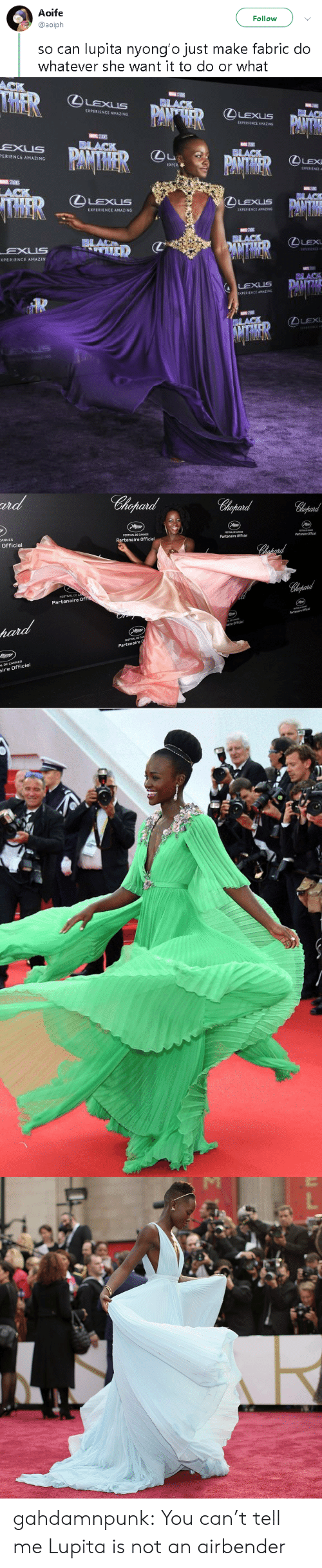 Lexus, Tumblr, and Amazin: Aoife  @aoiph  Follow  so can lupita nyong'o just make fabric do  whatever she want it to do or what   IXPERIENCE AMAZING  PERIENCE AMAZING  LEX  E XPE  BLAC  ④LExus  LEXUS  鉌HRIENCE AMAZING  LEX  EXUS  XPERIENCE AMAZIN  DLACK  LEXUS   ut  ANNES  Officiel  FESTIVAL DE CANNES  Partenaire Officiel  FESTIVAL DE CANNES  Partenaire Officiel  ESTINAL DE CANNES  Partenaire Officiel  FESTIVAL  DE  Partenaire Of  Partenaire Officie  A DE CANNES  aire Officiel  FESTIVAL DE CAN  Partenaire  L DE CANNES  ire Officiel gahdamnpunk: You can't tell me Lupita is not an airbender