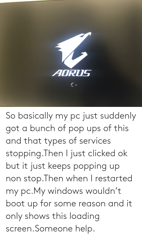 Pop, Ups, and Windows: AORUS So basically my pc just suddenly got a bunch of pop ups of this and that types of services stopping.Then I just clicked ok but it just keeps popping up non stop.Then when I restarted my pc.My windows wouldn't boot up for some reason and it only shows this loading screen.Someone help.