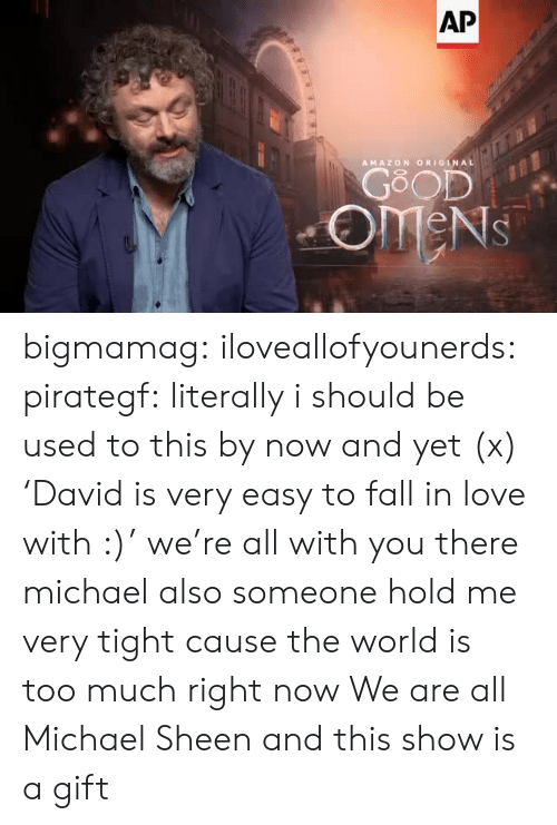 Amazon, Fall, and Love: AP  AMAZON ORIGINAL  GOOD  OMENS bigmamag:  iloveallofyounerds:   pirategf: literally i should be used to this by now and yet (x) 'David is very easy to fall in love with :)'  we're all with you there michael also someone hold me very tight cause the world is too much right now    We are all Michael Sheen and this show is a gift
