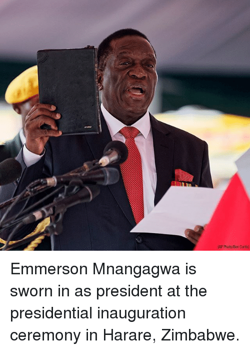 Memes, 🤖, and Zimbabwe: AP Photo/Ben Curtis Emmerson Mnangagwa is sworn in as president at the presidential inauguration ceremony in Harare, Zimbabwe.