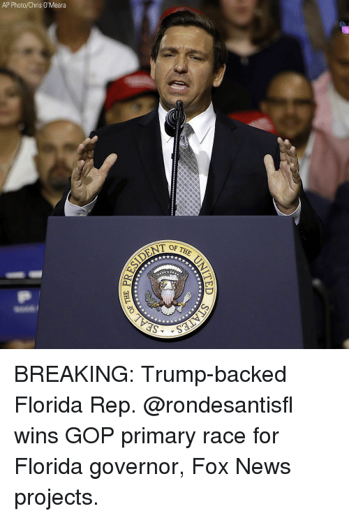 Memes, News, and Florida: AP Photo/Chris O'Meara  TOF THE BREAKING: Trump-backed Florida Rep. @rondesantisfl wins GOP primary race for Florida governor, Fox News projects.