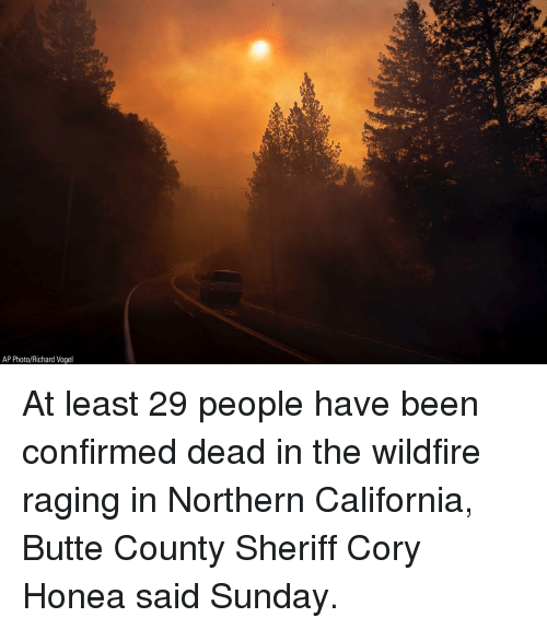 Memes, California, and Sunday: AP Photo/Richard Vogel At least 29 people have been confirmed dead in the wildfire raging in Northern California, Butte County Sheriff Cory Honea said Sunday.