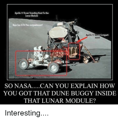 apollo 17 rover standing next to the lunar module how can it fit the compartment apollo 17. Black Bedroom Furniture Sets. Home Design Ideas