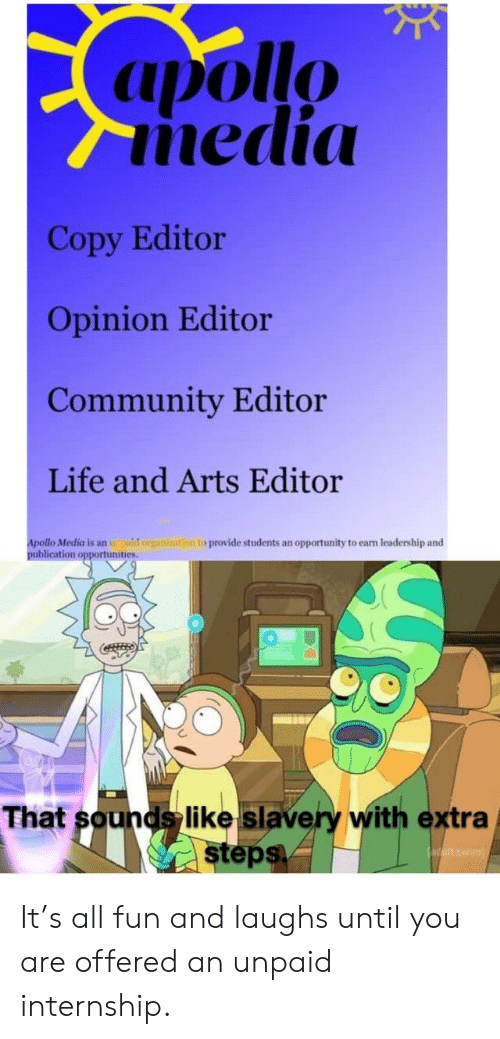 Apollo Nedi Copy Editor Opinion Editor Community Editor Life