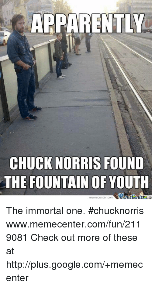 apparently chuck norris found the fountain of youth mumecenler meme 16558528 apparently chuck norris found the fountain of youth mumecenler