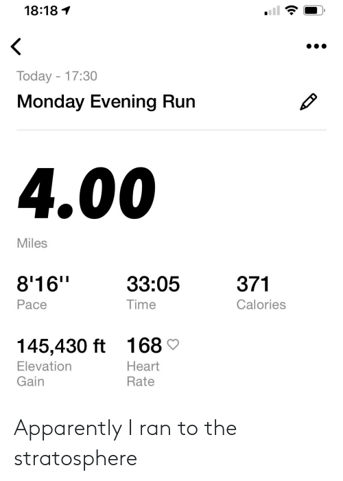 Apparently, Stratosphere, and Ran: Apparently I ran to the stratosphere