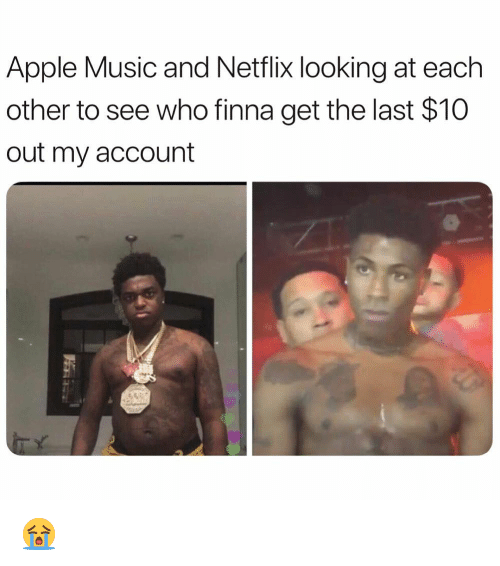Apple, Funny, and Music: Apple Music and Netflix looking at each  other to see who finna get the last $10  out my account 😭