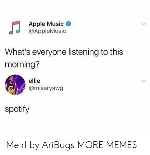 Apple, Dank, and Memes: Apple Music  @AppleMusic  What's everyone listening to this  morning?  ellie  @miseryawg  spotify Meirl by AriBugs MORE MEMES