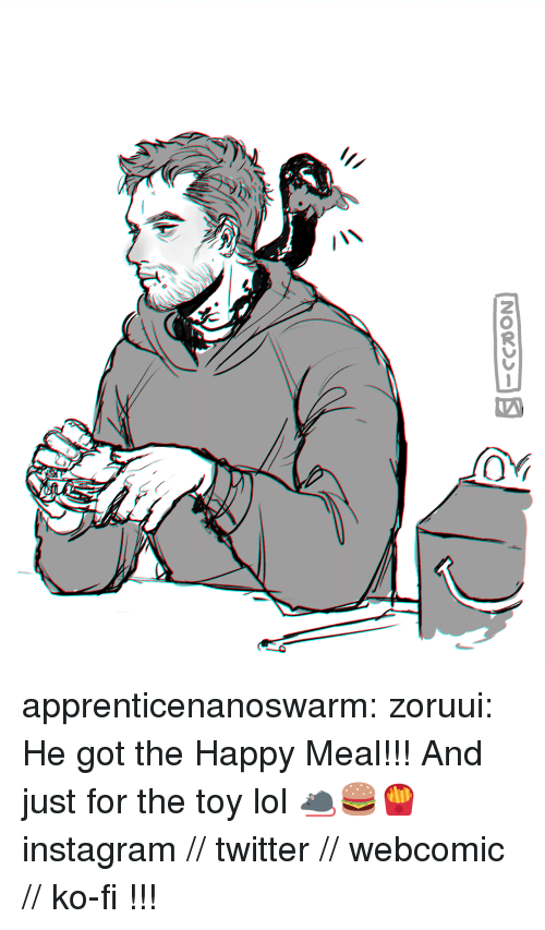 Instagram, Lol, and Tumblr: apprenticenanoswarm: zoruui:  He got the Happy Meal!!! And just for the toy lol 🐀🍔🍟   instagram // twitter // webcomic // ko-fi     !!!