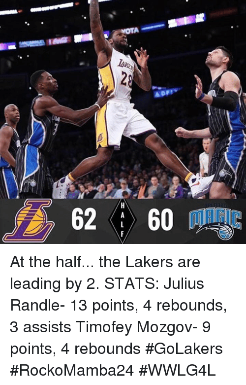 Memes, 🤖, and Lead: Appy  62 | 60  HALF At the half... the Lakers are leading by 2.  STATS: Julius Randle- 13 points, 4 rebounds, 3 assists Timofey Mozgov- 9 points, 4 rebounds #GoLakers   #RockoMamba24 #WWLG4L