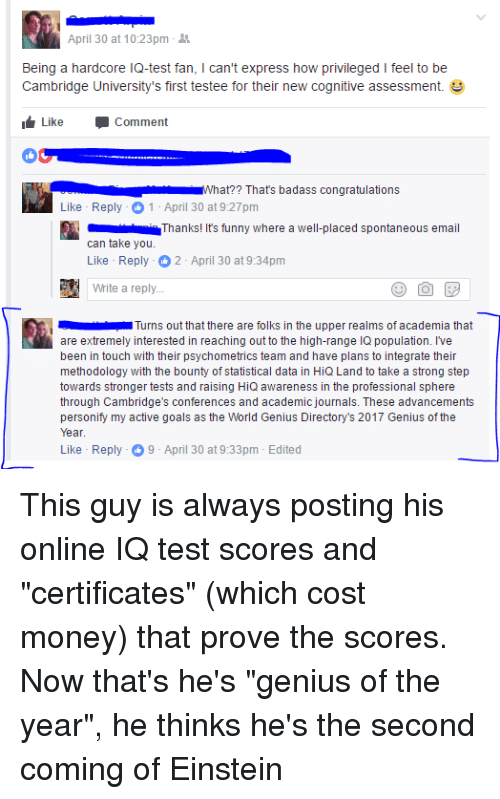 April 30 at 1023pm Being a Hardcore IQ-test Fan I Can't Express How