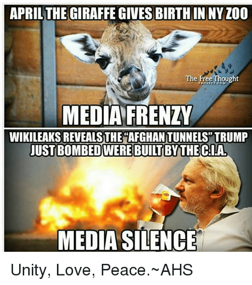 Love, Memes, and Free: APRIL THE GIRAFFE GIVES BIRTH IN NYZ00  The Free Thought  MEDIA FRENZY  WIKILEAKSREVEALSTHE AFGHANTUNNELS TRUMP  JUST BOMBEDWEREBUILTBY THE CIA.  MEDIA SILENCE Unity, Love, Peace.~AHS