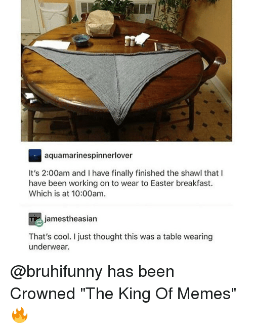 "Easter, Memes, and Breakfast: aquamarinespinnerlover  It's 2:00am and I have finally finished the shawl that I  have been working on to wear to Easter breakfast.  Which is at 10:00am  jamestheasian  That's cool. I just thought this was a table wearing  underwear. @bruhifunny has been Crowned ""The King Of Memes"" 🔥"