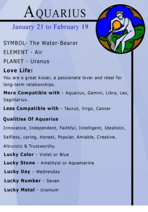 Aquarius January 21 To February 19 Symbol The Water Bearer Element