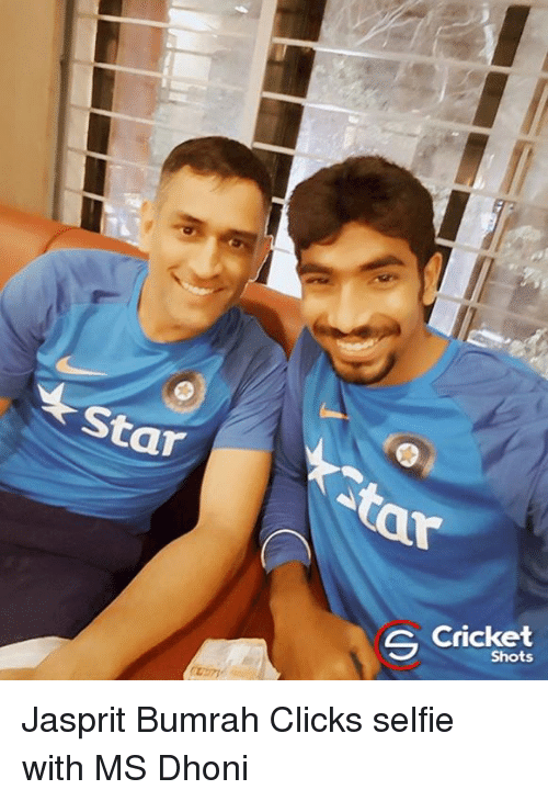 Memes, Cricket, and 🤖: ar  今Cricket  Shots  S Jasprit Bumrah Clicks selfie with MS Dhoni