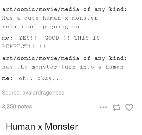 Ar Tcomicmoviemedia of Any Kind Has a Cute Human X Monster
