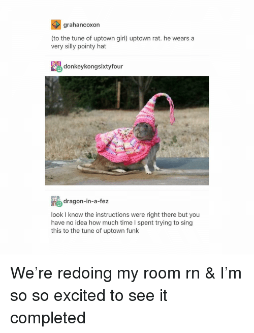 Tumblr, Girl, and Time: arahancoxon  (to the tune of uptown girl) uptown rat. he wears a  very silly pointy hat  donkeykongsixtyfour  dragon-in-a-fez  lookI know the instructions were right there but you  have no idea how much time l spent trying to sing  this to the tune of uptown funk We're redoing my room rn & I'm so so excited to see it completed