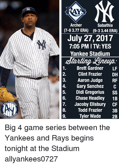 Archer 7-6 377 ERA Sabathia 9-3 344 ERA July 27 2017 705 PM