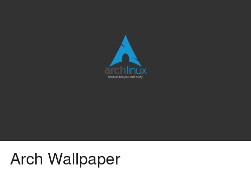 Archlinux Because Fuck You That S Why Arch Wallpaper Fuck You Meme