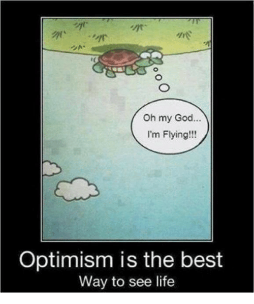 God, Life, and Oh My God: are  Oh my God...  I'm Flying!!!  Optimism is the best  Way to see life