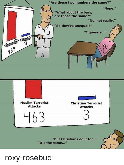 """Muslim, Target, and Tumblr: """"Are these two numbers the same?""""  """"Nope.""""  o""""What about the bars,  are those the same?""""  """"No, not really.""""  """"So they're unequal?'  """"I guess so.""""  3  4b  Muslim Terrorist  Attacks  Christian Terrorist  Attacks  463  """"But Christians do it too...""""  """"It's the same..."""" roxy-rosebud:"""
