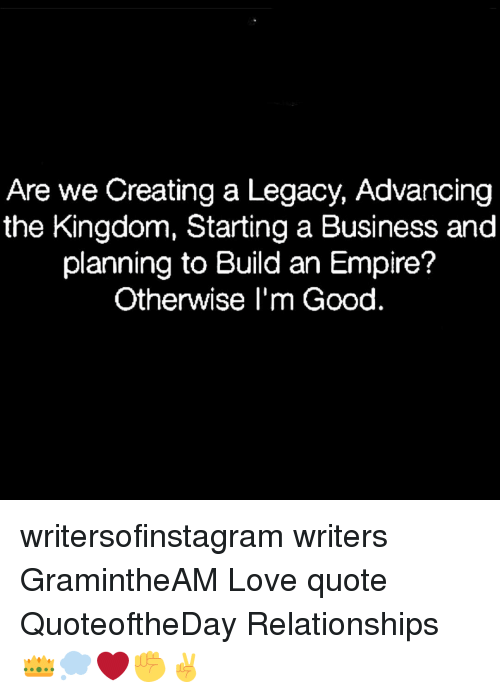 Are We Creating A Legacy Advancing The Kingdom Starting A Business