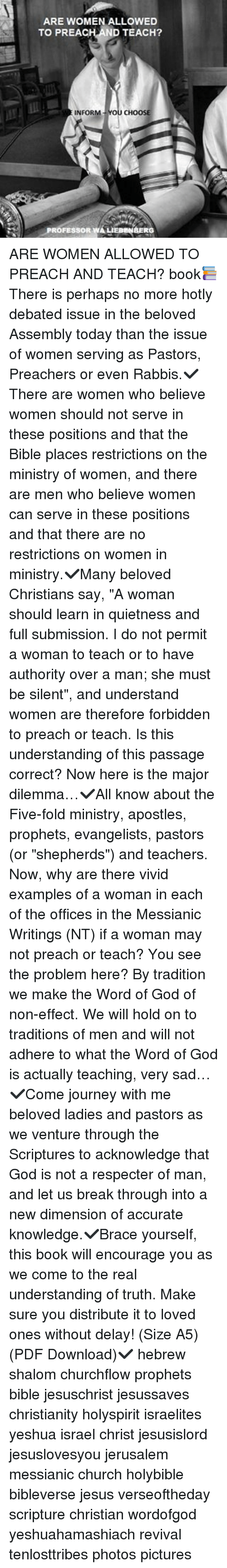 Church, God, and Jesus: ARE WOMEN ALLOWED TO PREACH ND TEACH? INFORM