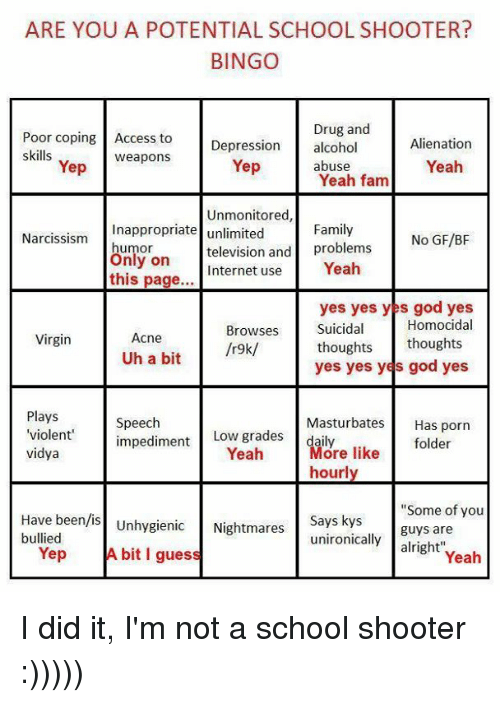 ARE YOU a POTENTIAL SCHOOL SHOOTER? BINGO Drug and Poor